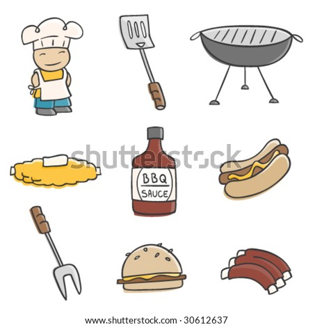 Cute BBQ illustrations. - stock vector