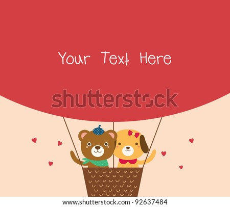 Cute Bear and Dog in A Hot Air Balloon. Valentine's Day. - stock vector
