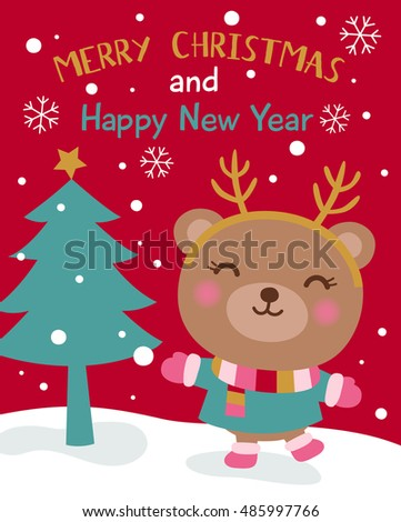 Cute bear cartoon illustration for merry christmas and happy new year card