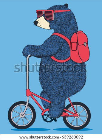 cute bear on bicycle. vector t shirt graphic design for kids