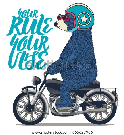 cute bear on motorcycle. vector t shirt graphic design for kids