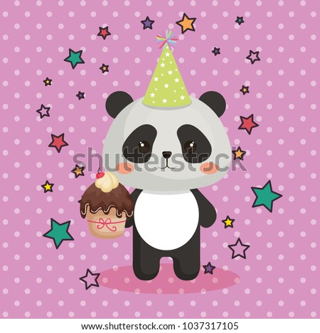 Cute Bear Panda Cupcake Kawaii Birthday Stock Vector 1037317105