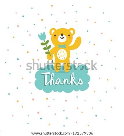 Cute bear says thanks, vector illustration - stock vector