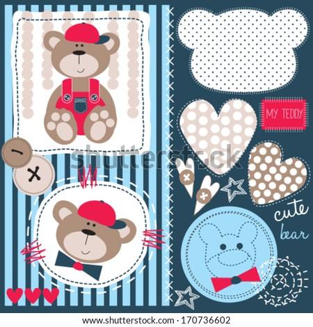 cute bear teddy vector illustration - stock vector