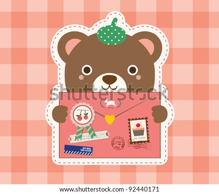 Cute Bear with Love Envelope. Valentine's Day Design. - stock vector