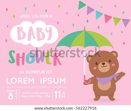 Cute Bear With Umbrella Illustration For Baby Shower Invitation Card Design  Template