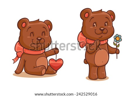 Cute bears for st. Valentine's Day - stock vector