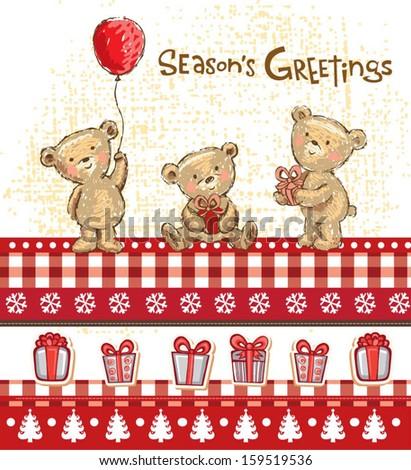 Cute bears, seasons greetings. - stock vector