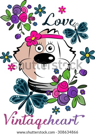 Cute beautiful dog love vintage heart - stock vector