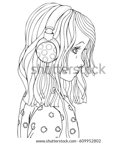 Cute Beautiful Girl With Headphones Coloring Book Page For Adult And Children Black