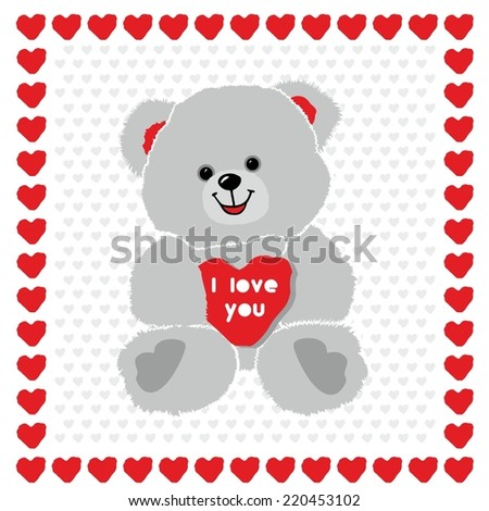 cute beautiful love Teddy bear with heart, gift for Valentine's day