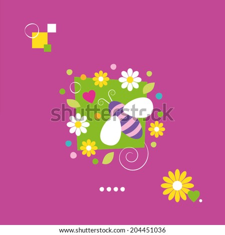cute bee and flowers greeting card - stock vector