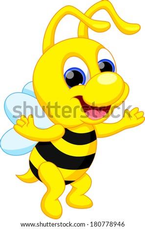 Cute bee cartoon - stock vector