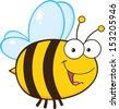 Cute Bee Cartoon Mascot Character - stock photo