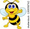 Cute bee cartoon waving - stock vector