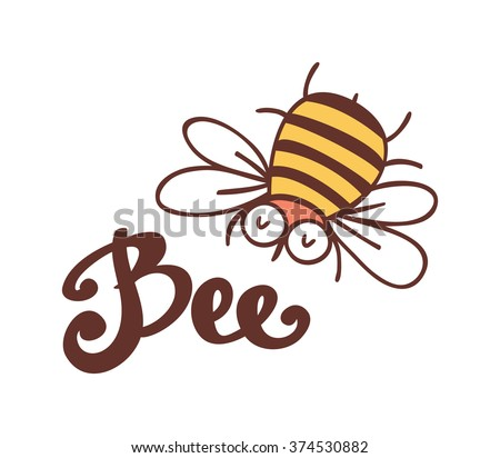 Cute bee. Hand drawn vector illustration.