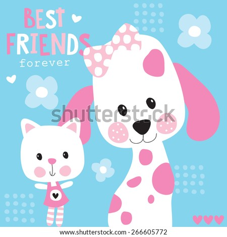 cute best friends cat and dog vector illustration - stock vector