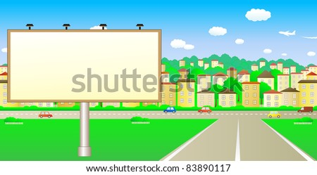 Cute big board on the summer city - stock vector