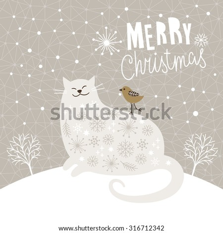 Cute big cat and little bird, Christmas vector illustration, Christmas card - stock vector