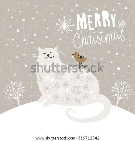 Cute big cat and little bird, Christmas vector illustration, Christmas card - stock vector