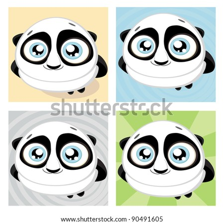 Cute big-eyed panda with bamboo.Vector illustration - stock vector