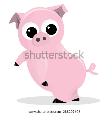 Illustration Isolated Hanging Kid Jump Suit Stock ... Cute Cartoon Pigs With Big Eyes