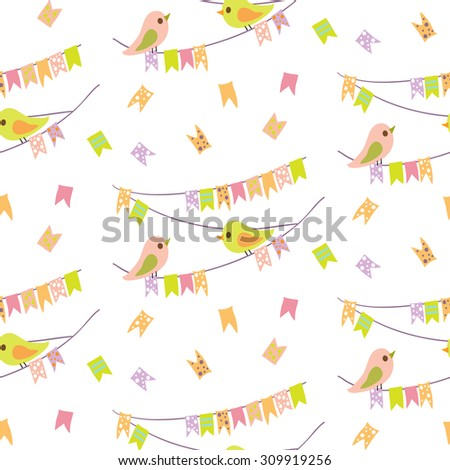Cute Bird & Bunting Flag seamless pattern on white background. Childish textile. Cloth & rug design. Orange, Purple, Pink, Green & White vector backdrop. Pastel colors. Hand drawn vector illustration. - stock vector