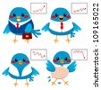 Cute bird businessman showing different graph stats from success to failure - stock photo
