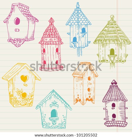 Cute Bird House Doodles - hand drawn in vector - for design and scrapbook - stock vector