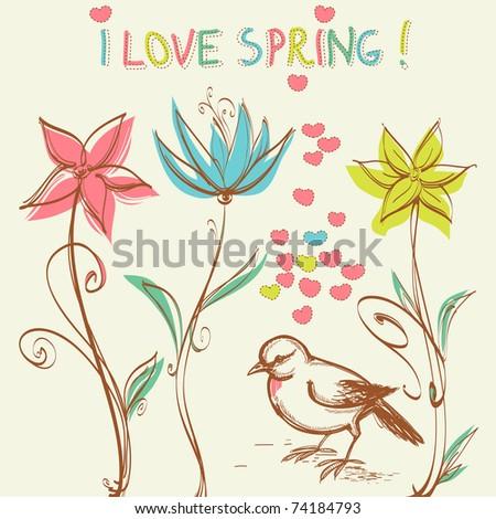Cute bird in the flowers garden - stock vector