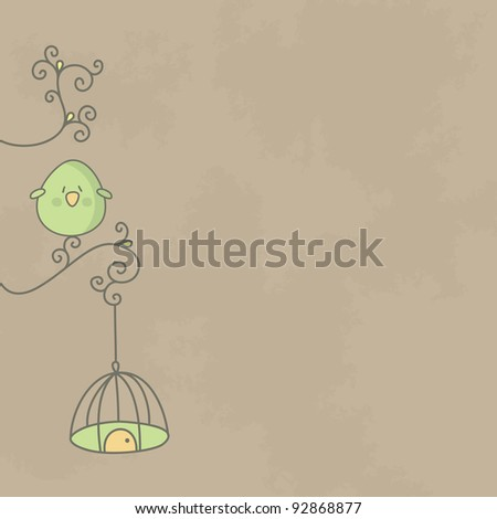Cute bird on a branch of tree with its cage hanging. Vector EPS10. - stock vector