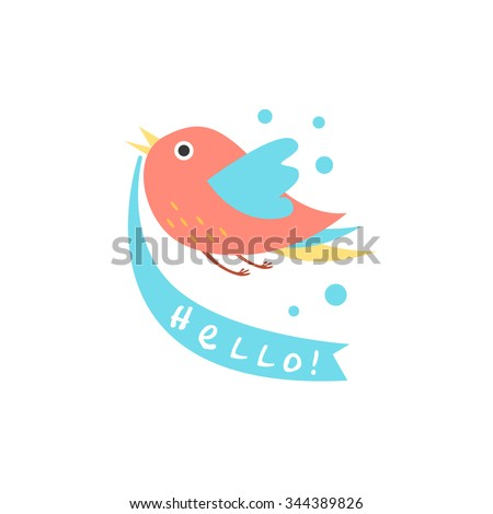 Cute Bird with a sign for text, vector illustration