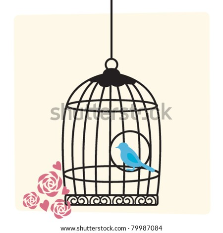 Cute birdcage background - stock vector