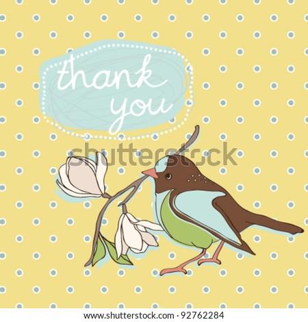 "Cute birdie ""Thank you"" card - stock vector"