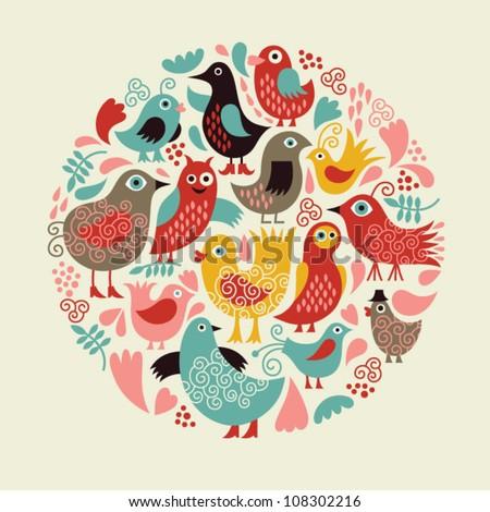 cute birds - stock vector