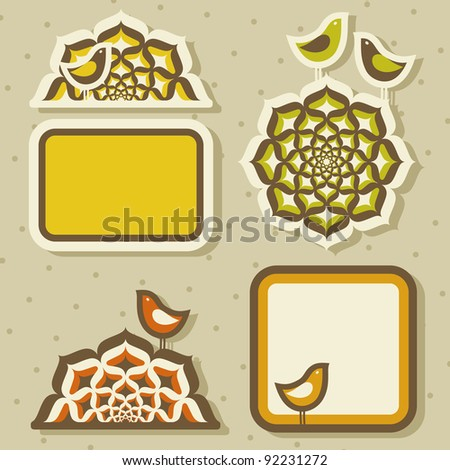 Cute birds and arabesques. Vector illustration.