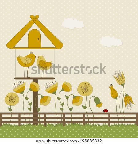 Cute birds and birdhouse with yellow flowers on polka dots background - stock vector