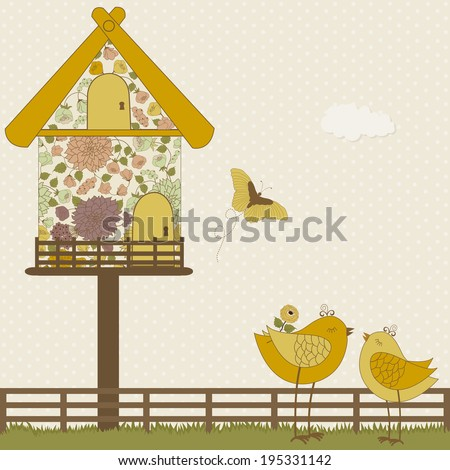 Cute birds and floral birdhouse on polka dots background - stock vector