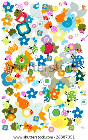 cute birds and flowers - stock vector