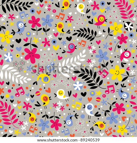 cute birds and flowers seamless pattern - stock vector