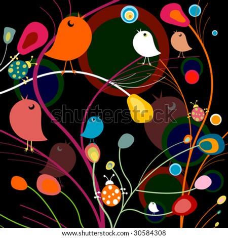 cute birds background - stock vector