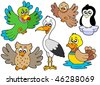 Cute birds collection 2 - vector illustration. - stock vector