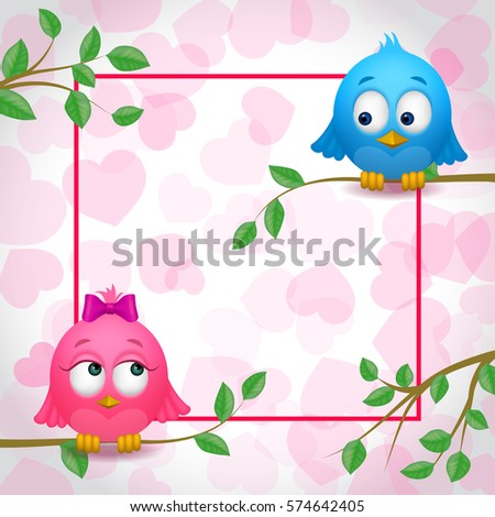 Cute Birds Couple Love Frame Stock Vector 574642405 - Shutterstock