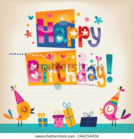 Cute birds Happy Birthday card - stock vector