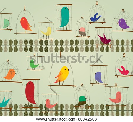 Cute Birds in The Cage Concept Design. Retro Style. - stock vector