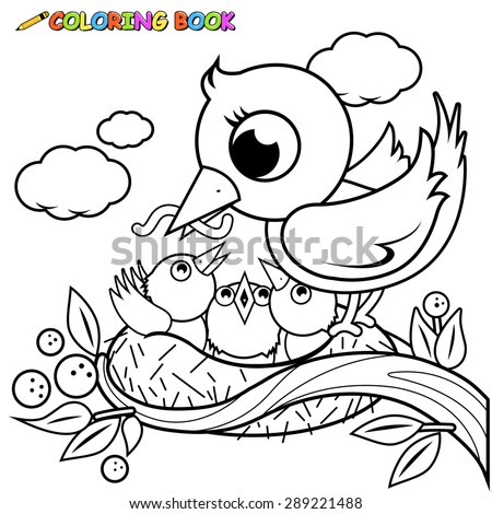 Cute Birds Nest Coloring Page Stock Vector 289221488 - Shutterstock