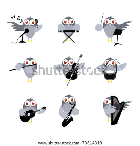 Cute Birds Playing Instrument. Vector Illustration.