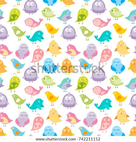 Cute Birds Seamless Pattern Vector Illustration In Soft Pastel Colors Colorful Background Can