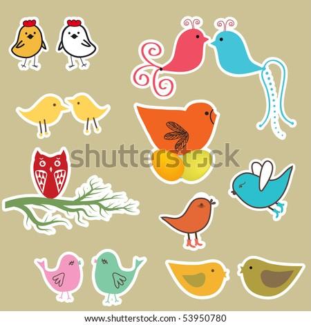 Cute birds set. Vintage vector illustration - stock vector