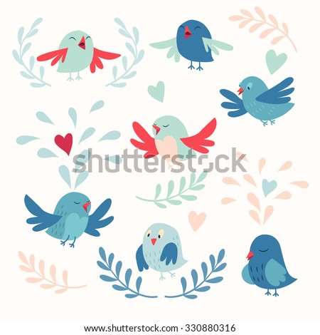 Cute birds vector card set - stock vector